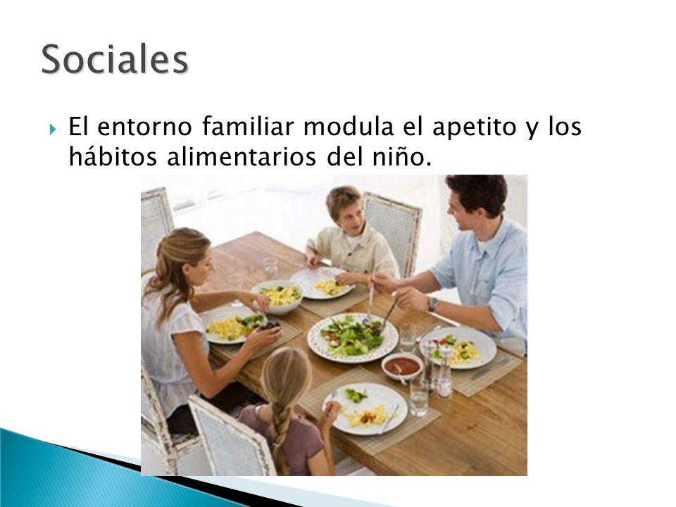 Sociales El entorno familiar modula el apetito y los hábitos alimentarios del niño.