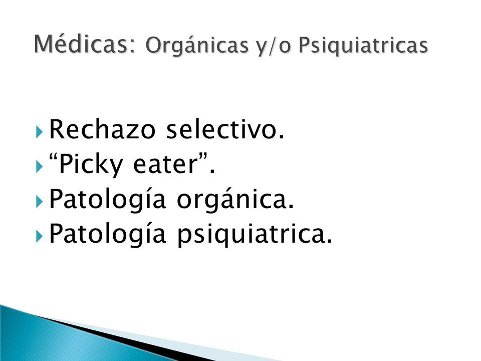 Médicas: Orgánicas y/o Psiquiatricas