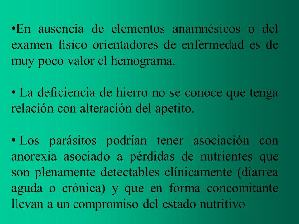 En ausencia de elementos anamnésicos o del examen físico orientadores de enfermedad es de muy poco valor el hemograma.
