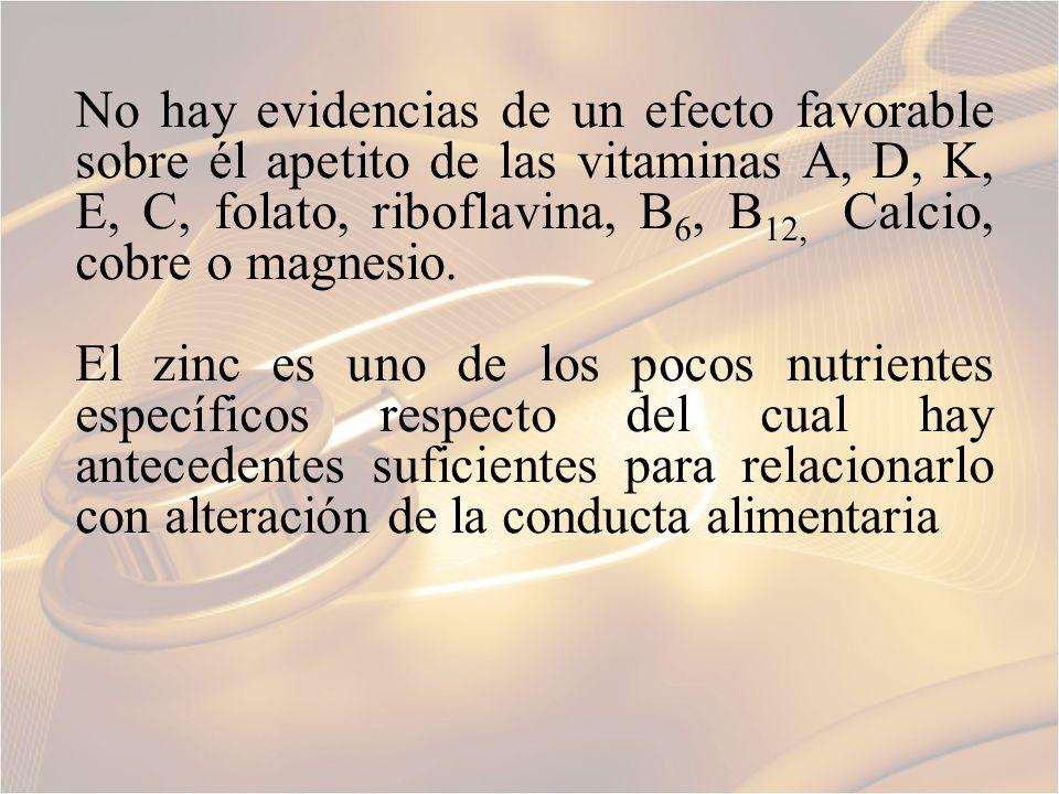 No hay evidencias de un efecto favorable sobre él apetito de las vitaminas A, D, K, E, C, folato, riboflavina, B6, B12, Calcio, cobre o magnesio.