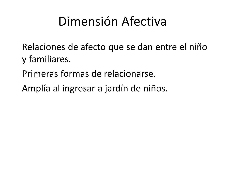 Dimensión Afectiva Relaciones de afecto que se dan entre el niño y familiares. Primeras formas de relacionarse.