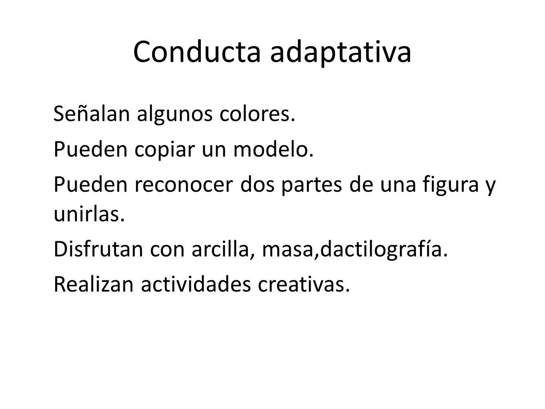 Conducta adaptativa Señalan algunos colores. Pueden copiar un modelo.