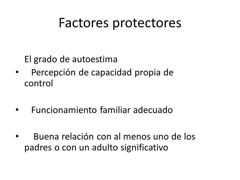 Factores protectores El grado de autoestima