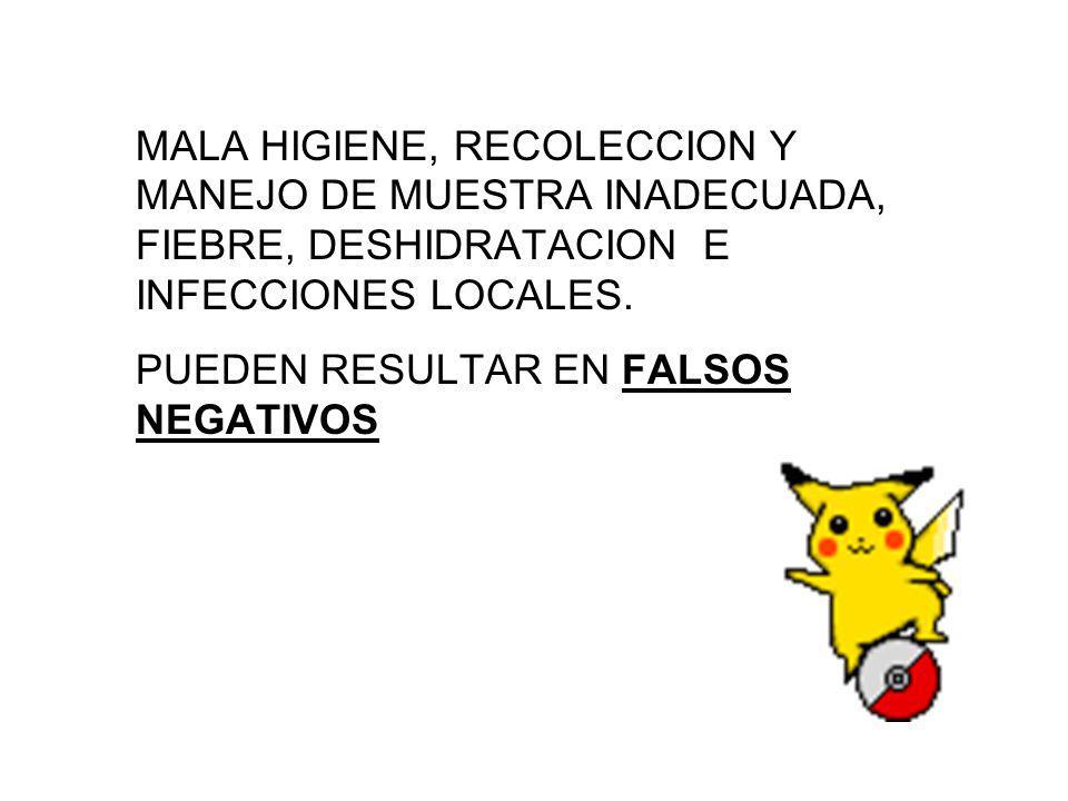 MALA HIGIENE, RECOLECCION Y MANEJO DE MUESTRA INADECUADA, FIEBRE, DESHIDRATACION E INFECCIONES LOCALES.