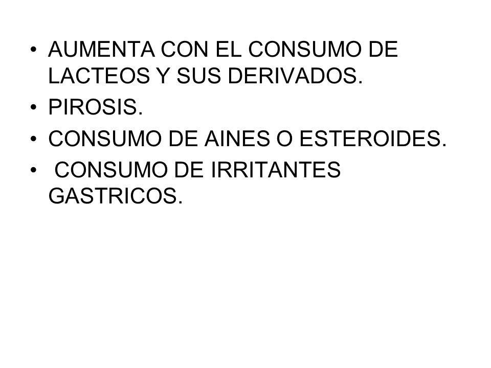 AUMENTA CON EL CONSUMO DE LACTEOS Y SUS DERIVADOS.