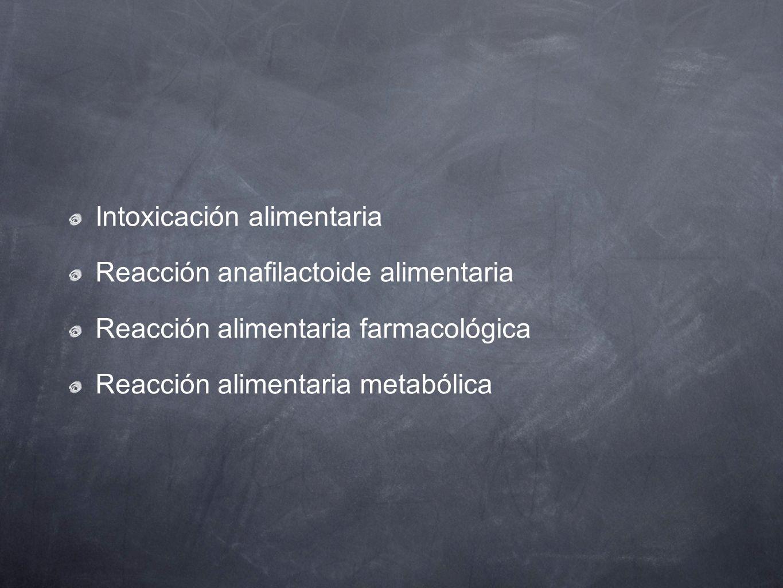 Intoxicación alimentaria Reacción anafilactoide alimentaria