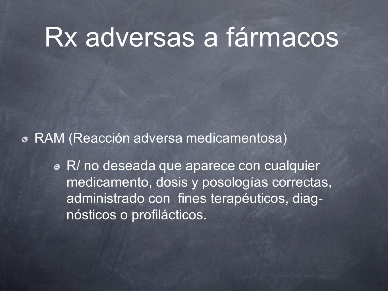 Rx adversas a fármacos RAM (Reacción adversa medicamentosa)