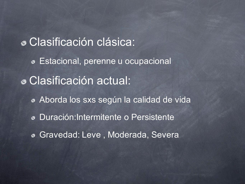 Clasificación clásica: Clasificación actual: