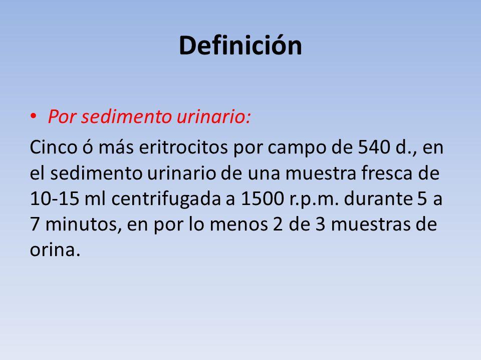 Definición Por sedimento urinario: