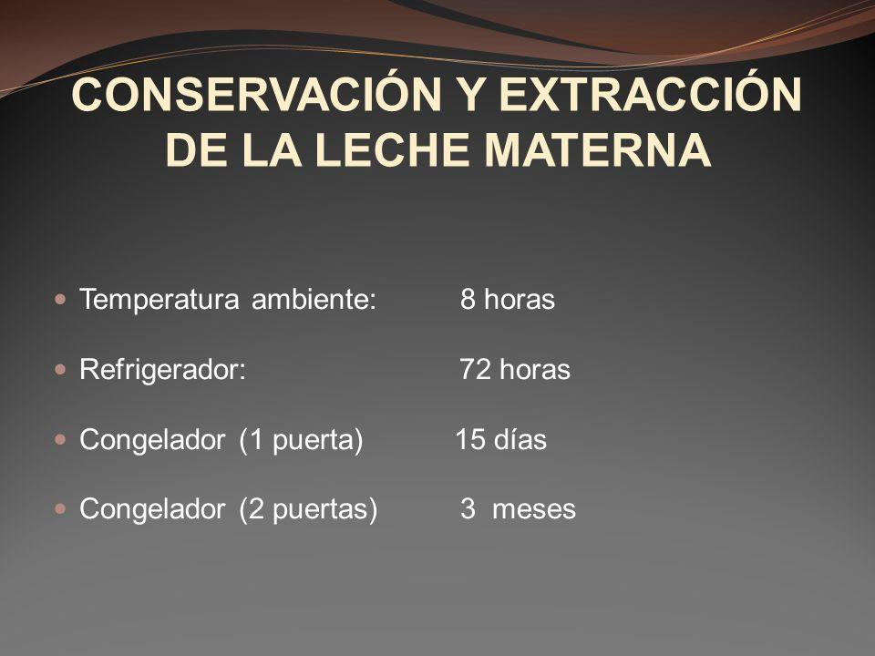 CONSERVACIÓN Y EXTRACCIÓN DE LA LECHE MATERNA