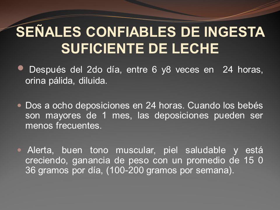 SEÑALES CONFIABLES DE INGESTA SUFICIENTE DE LECHE
