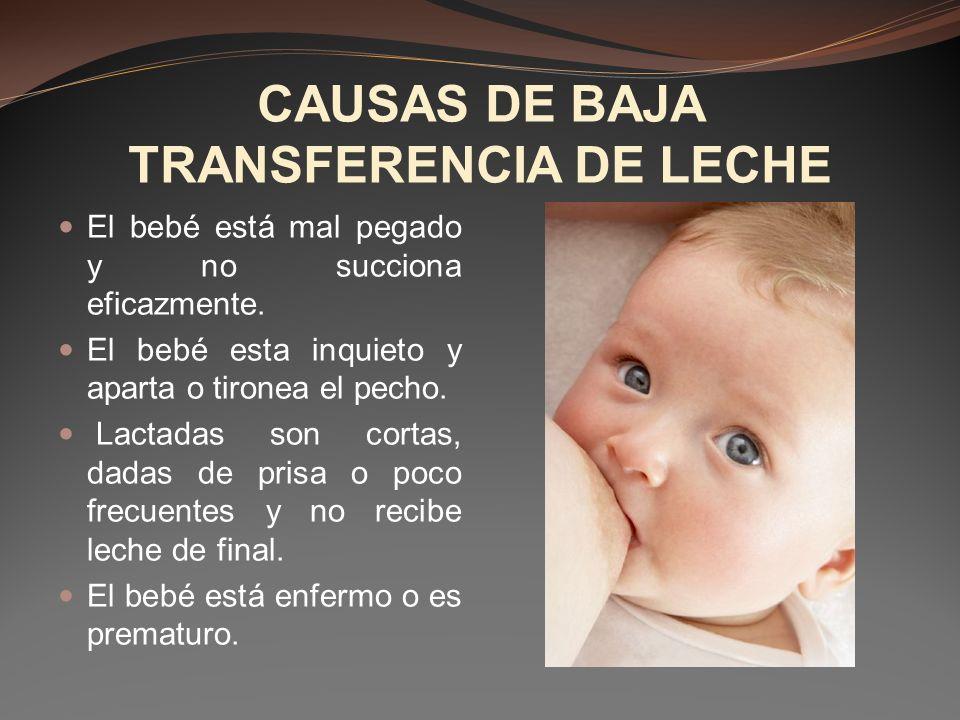 CAUSAS DE BAJA TRANSFERENCIA DE LECHE