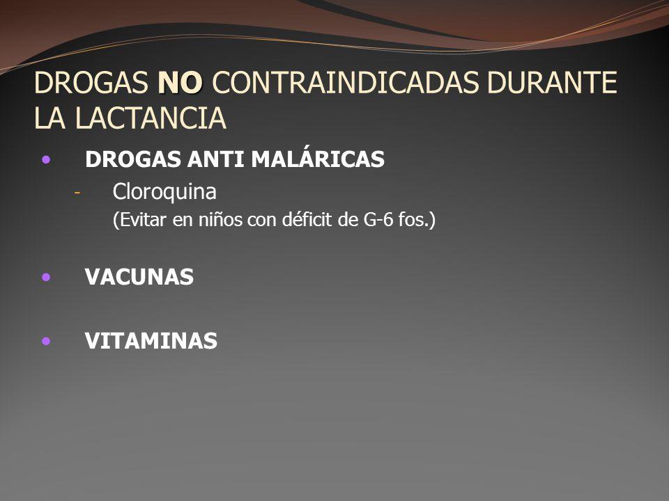 DROGAS NO CONTRAINDICADAS DURANTE LA LACTANCIA