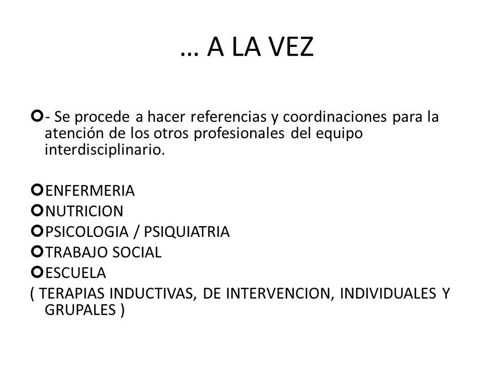 … A LA VEZ - Se procede a hacer referencias y coordinaciones para la atención de los otros profesionales del equipo interdisciplinario.
