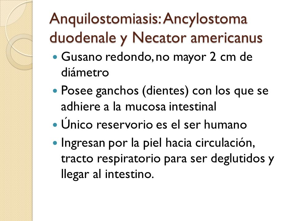 Anquilostomiasis: Ancylostoma duodenale y Necator americanus