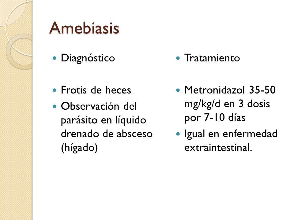 Amebiasis Diagnóstico Frotis de heces
