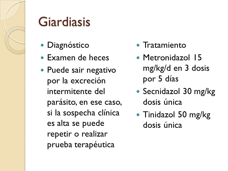 Giardiasis Diagnóstico Examen de heces