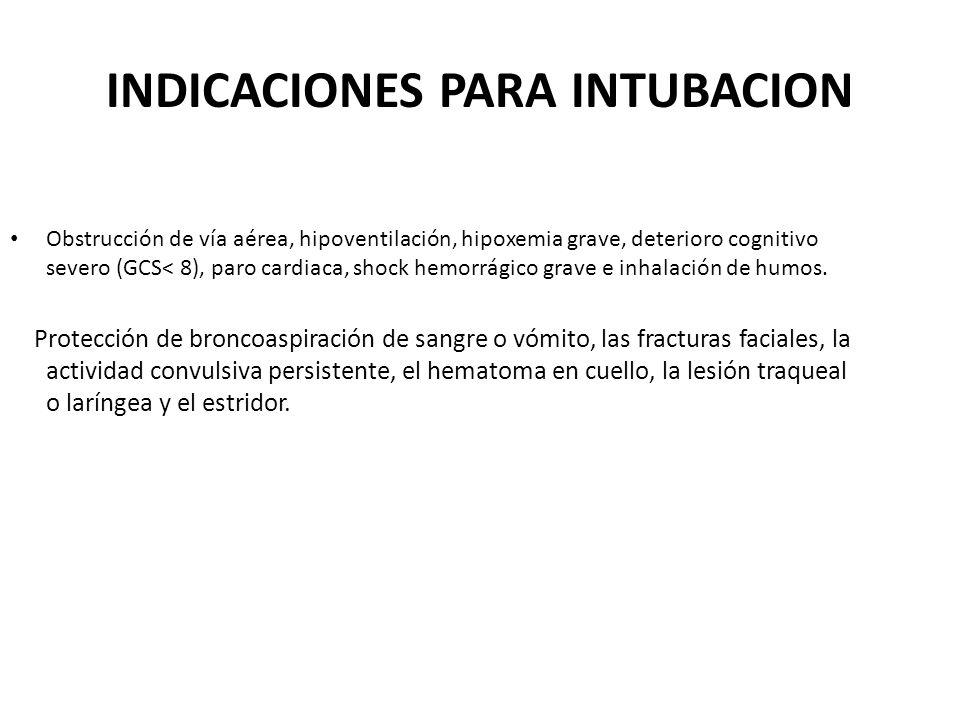 INDICACIONES PARA INTUBACION