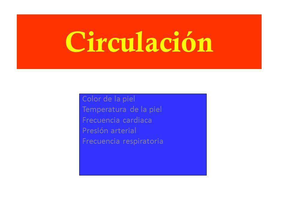 Circulación Color de la piel Temperatura de la piel