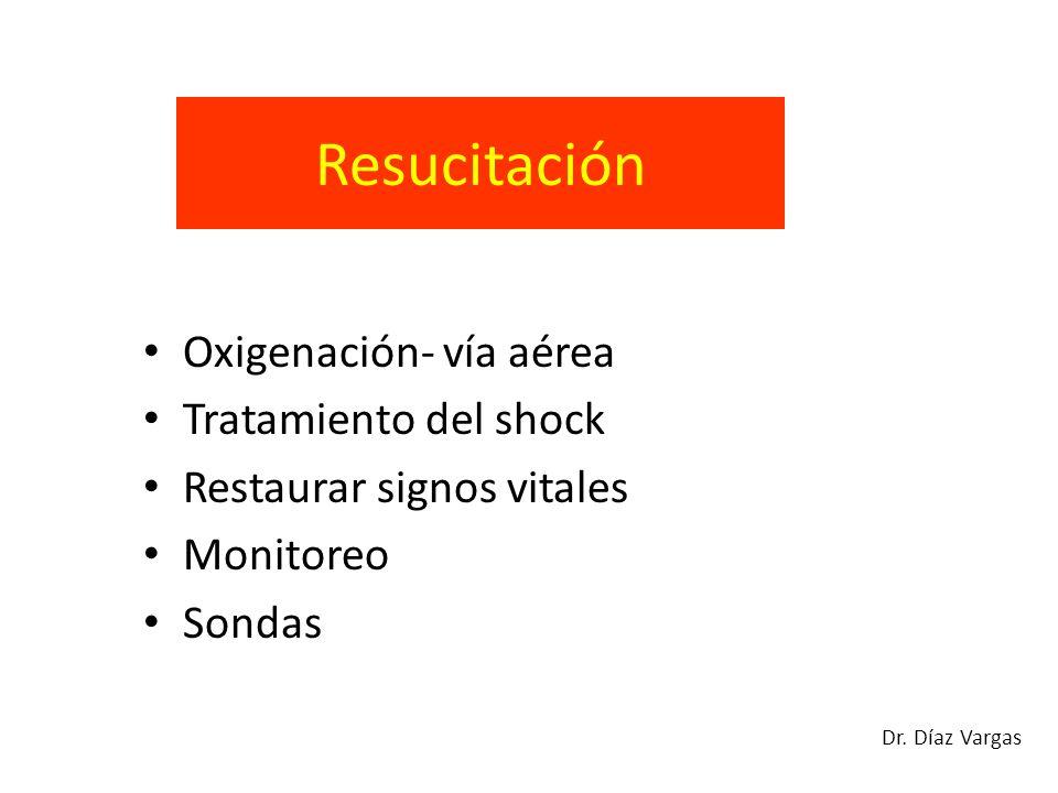 Resucitación Oxigenación- vía aérea Tratamiento del shock