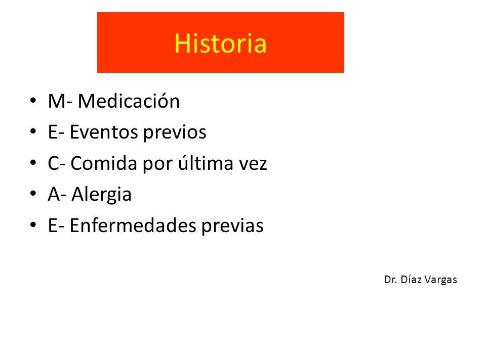 Historia M- Medicación E- Eventos previos C- Comida por última vez