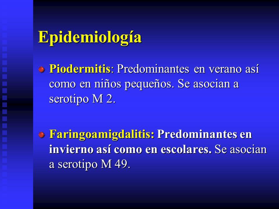 Epidemiología Piodermitis: Predominantes en verano así como en niños pequeños. Se asocian a serotipo M 2.