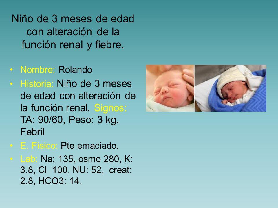 Niño de 3 meses de edad con alteración de la función renal y fiebre.