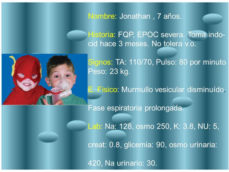 Nombre: Jonathan , 7 años. Historia: FQP, EPOC severa. Toma indo-cid hace 3 meses. No tolera v.o. Signos: TA: 110/70, Pulso: 80 por minuto.