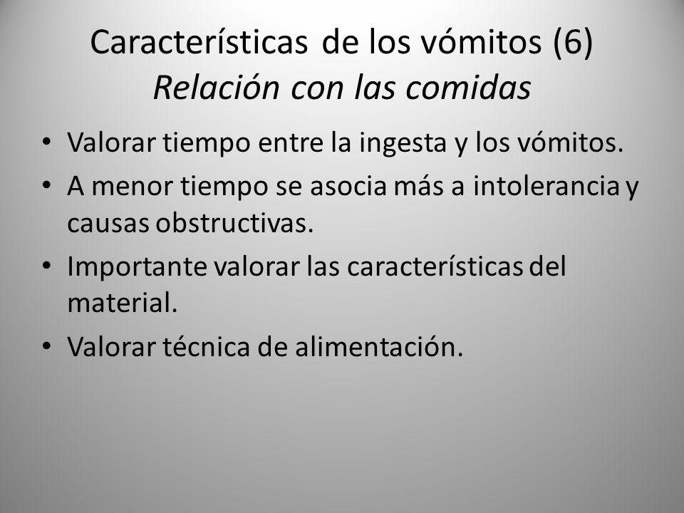 Características de los vómitos (6) Relación con las comidas