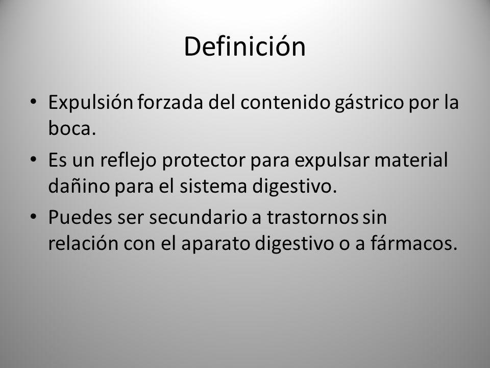 Definición Expulsión forzada del contenido gástrico por la boca.