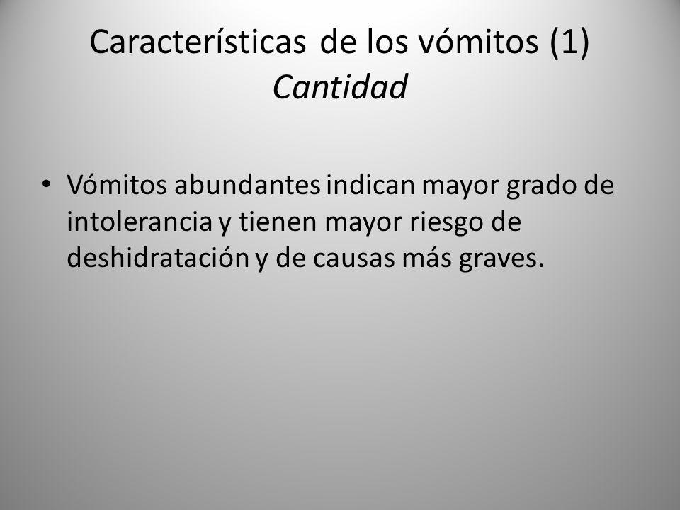 Características de los vómitos (1) Cantidad