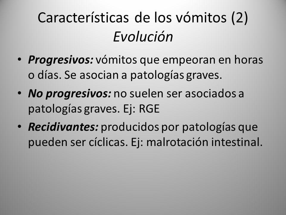 Características de los vómitos (2) Evolución