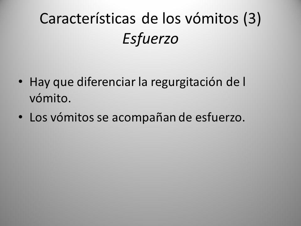 Características de los vómitos (3) Esfuerzo