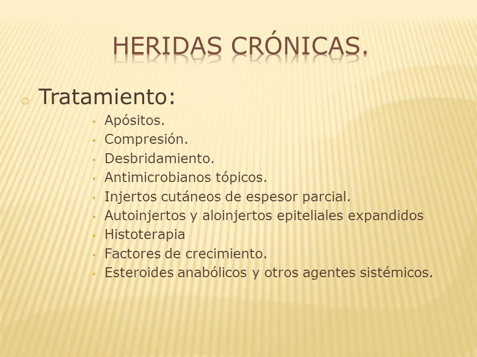Heridas crónicas. Tratamiento: Apósitos. Compresión. Desbridamiento.