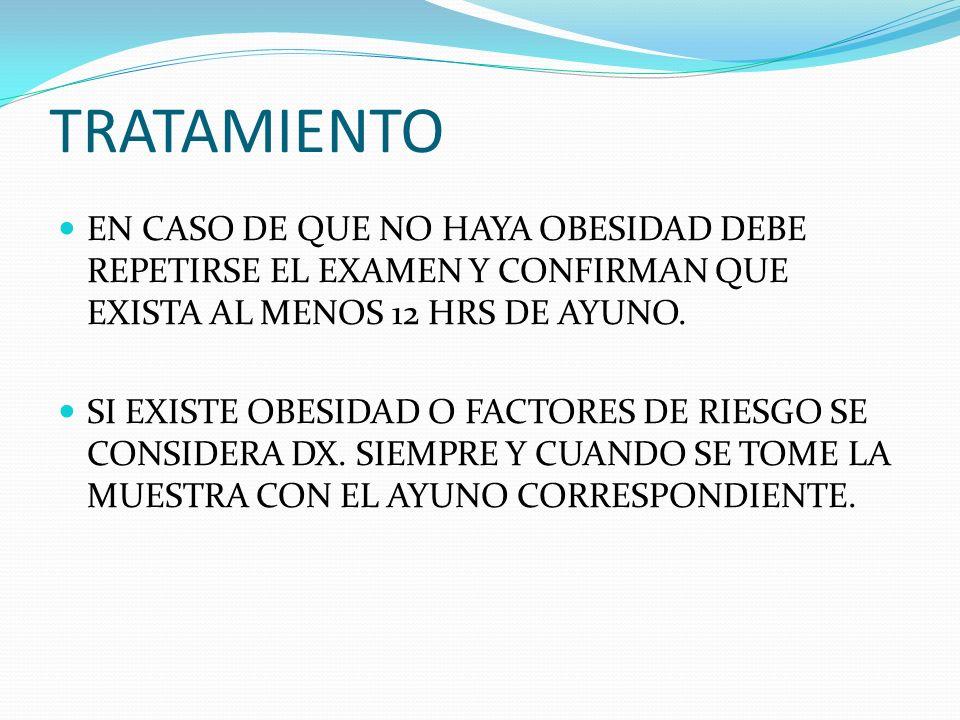 TRATAMIENTOEN CASO DE QUE NO HAYA OBESIDAD DEBE REPETIRSE EL EXAMEN Y CONFIRMAN QUE EXISTA AL MENOS 12 HRS DE AYUNO.