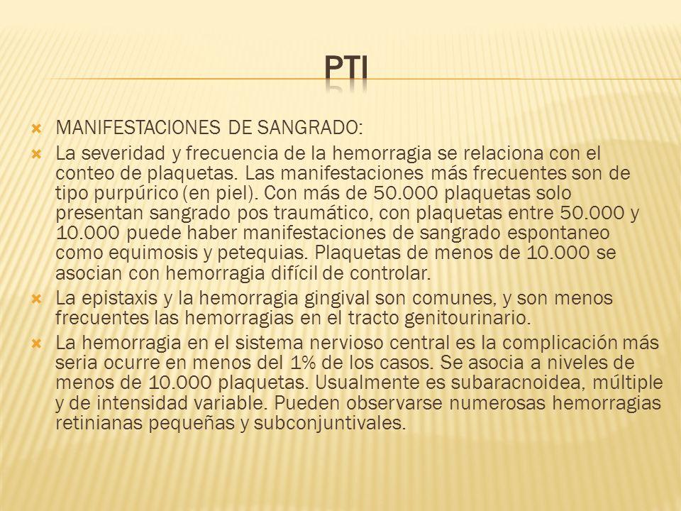 PTI MANIFESTACIONES DE SANGRADO:
