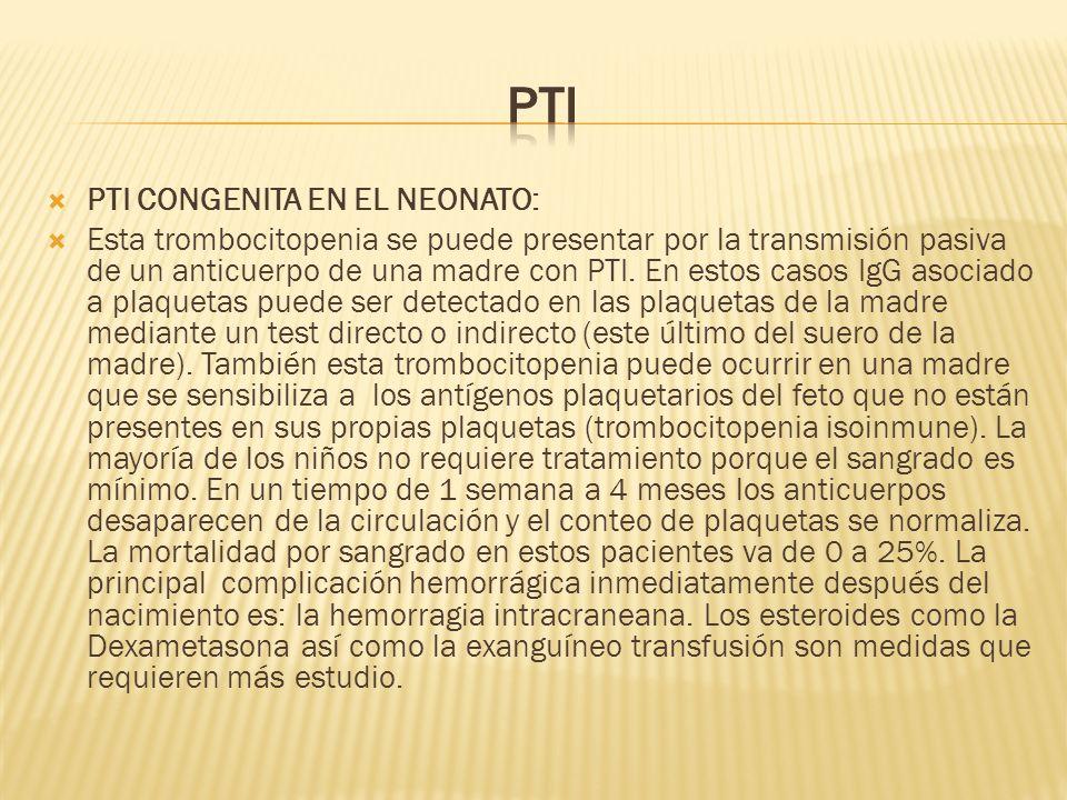 PTI PTI CONGENITA EN EL NEONATO: