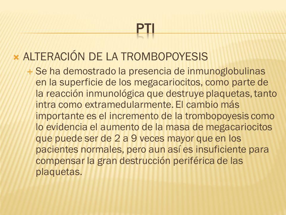 PTI ALTERACIÓN DE LA TROMBOPOYESIS