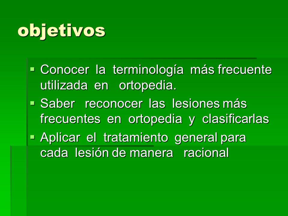 objetivos Conocer la terminología más frecuente utilizada en ortopedia.