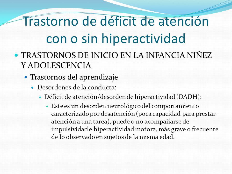 Trastorno de déficit de atención con o sin hiperactividad