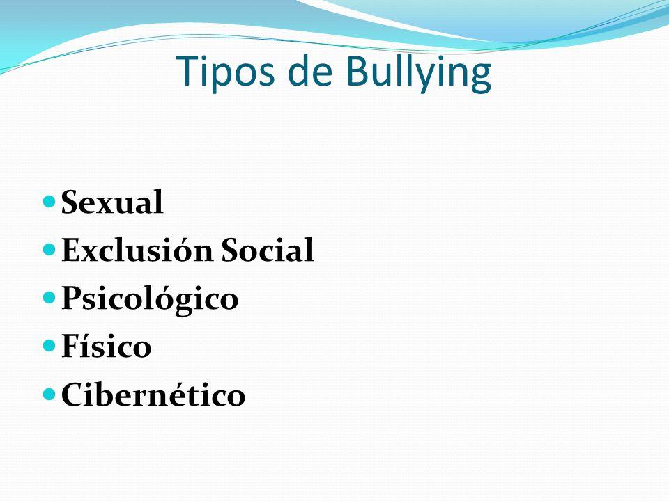 Tipos de Bullying Sexual Exclusión Social Psicológico Físico