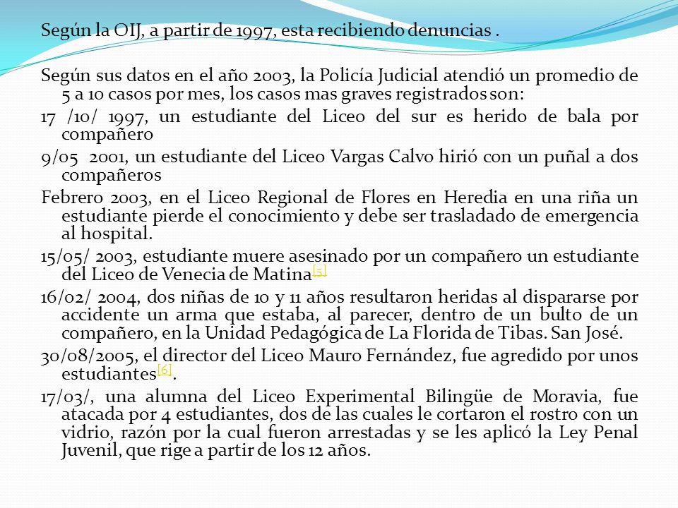 Según la OIJ, a partir de 1997, esta recibiendo denuncias .