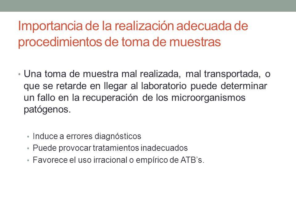 Importancia de la realización adecuada de procedimientos de toma de muestras