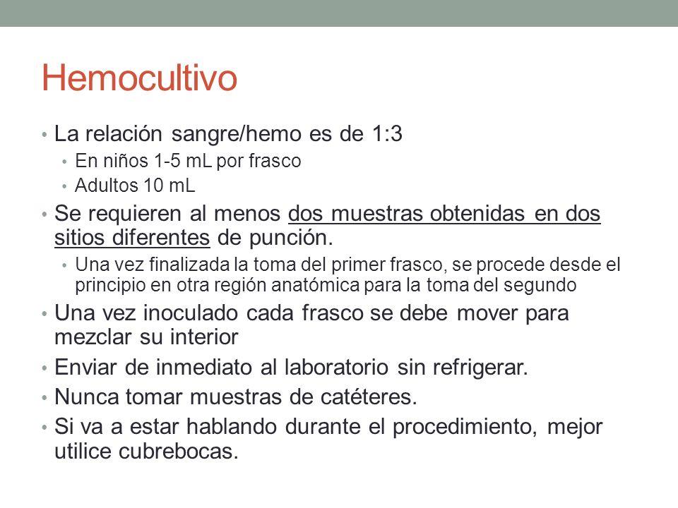 Hemocultivo La relación sangre/hemo es de 1:3