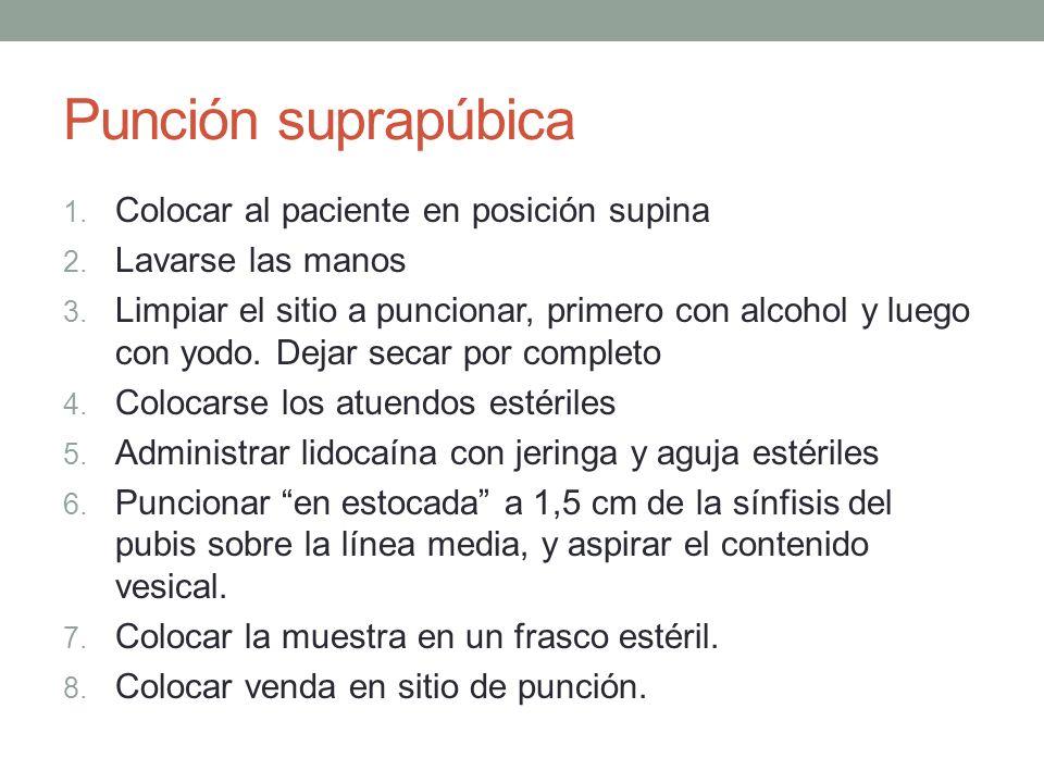 Punción suprapúbica Colocar al paciente en posición supina