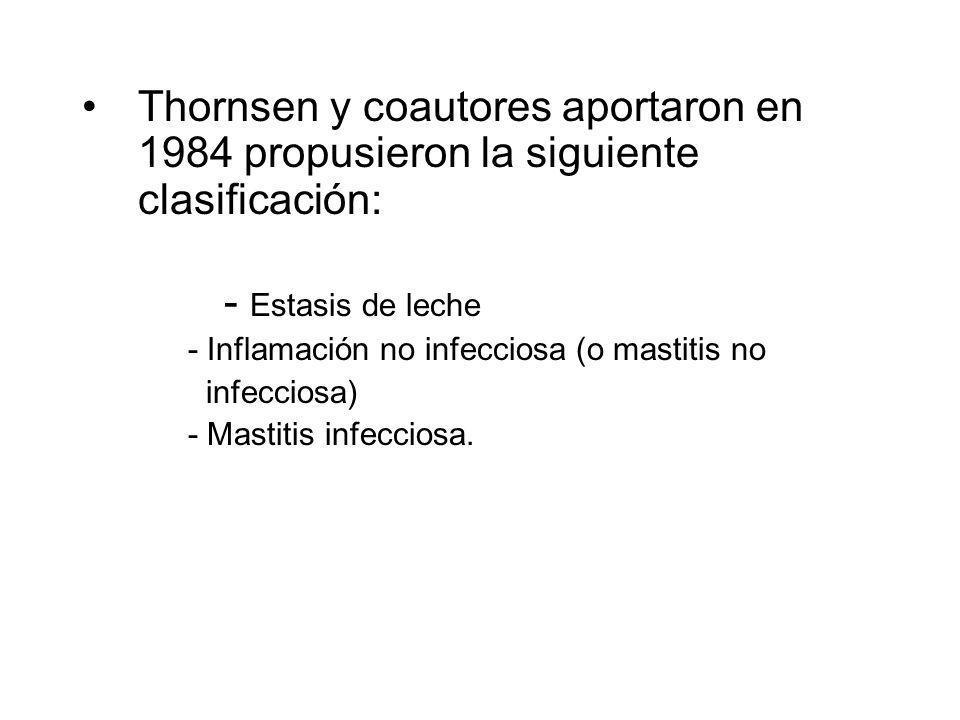 Thornsen y coautores aportaron en 1984 propusieron la siguiente clasificación: