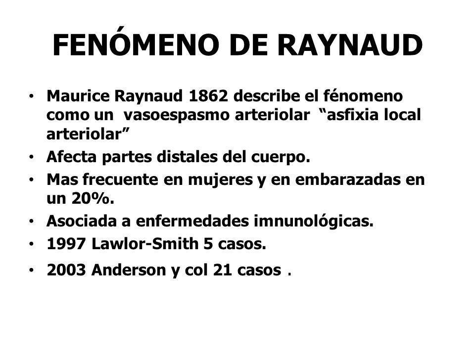 FENÓMENO DE RAYNAUD Maurice Raynaud 1862 describe el fénomeno como un vasoespasmo arteriolar asfixia local arteriolar
