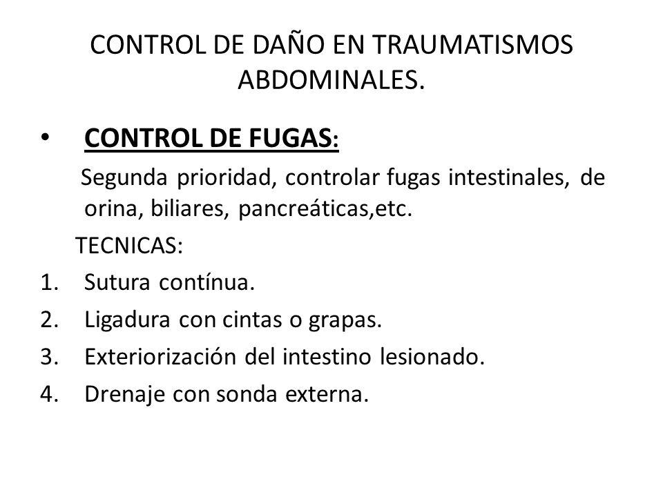 CONTROL DE DAÑO EN TRAUMATISMOS ABDOMINALES.
