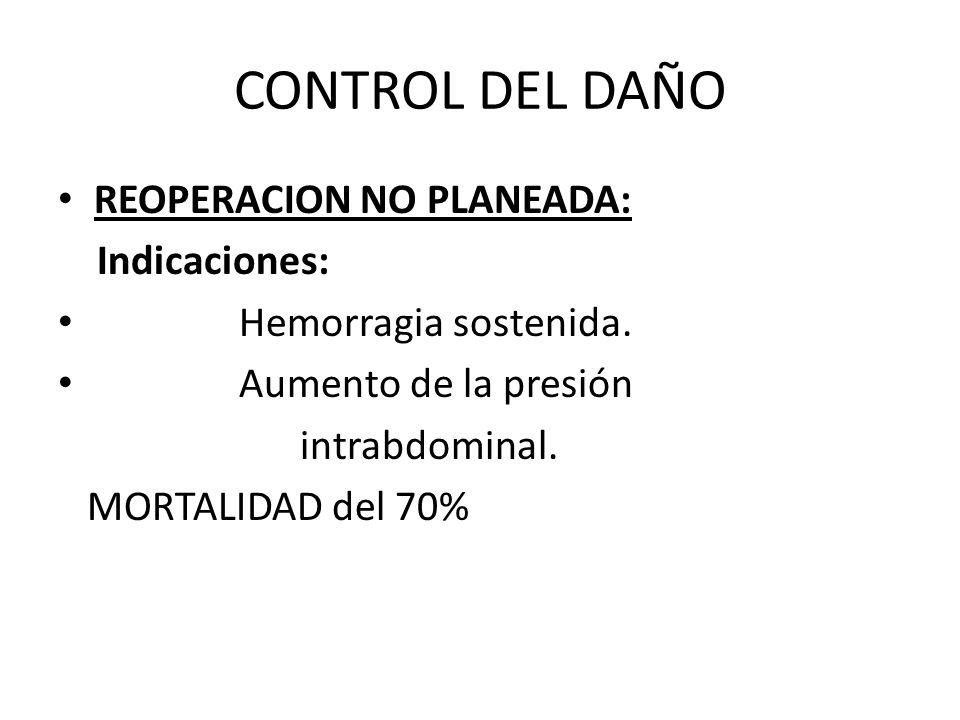 CONTROL DEL DAÑO REOPERACION NO PLANEADA: Indicaciones: