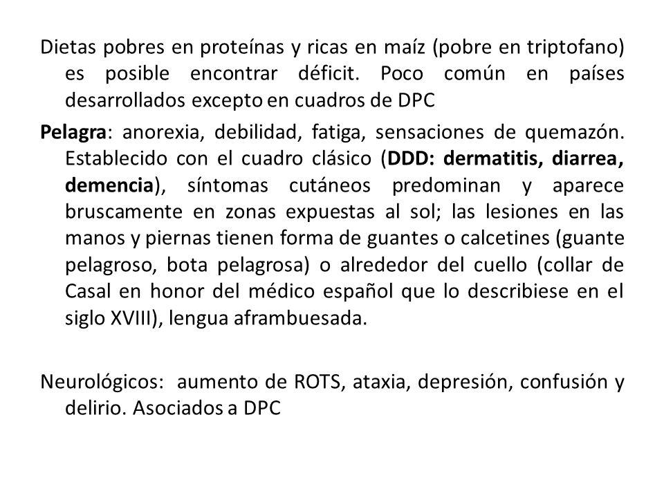 Dietas pobres en proteínas y ricas en maíz (pobre en triptofano) es posible encontrar déficit.